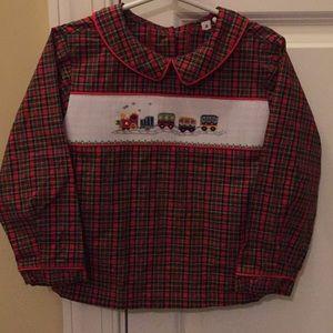 Smocked Train Plaid Shirt